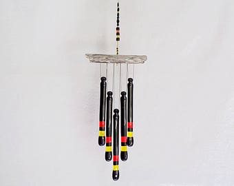 Black, Orange and Yellow Glass Wind Chime with Oregon Driftwood, Glass Chimes, WindChime, Suncatcher