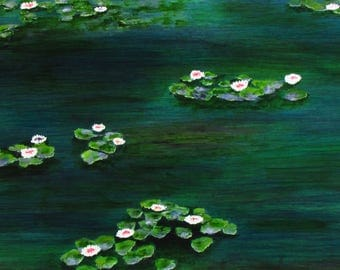 WATER LILIES Pond Lake Monet Large Folk art print of Todd Young painting