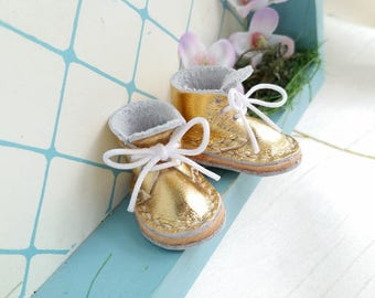 Lace Up Shoes Mini Leather Gold Laced Boots For Azone Pure Neemo M Size And Neo Blythe Doll Hand Made By MizuSGarden