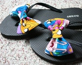 Adventure Time Finn Jake Flip Flop Sandals fabric handmade to your shoe size