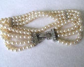 Art Deco Pearl Rhinestone Bracelet, Gatsby Bracelet, Downton Abbey, Vintage Wedding Jewelry, Bride Bracelet, Ivory Pearls, Moonlilydesigns