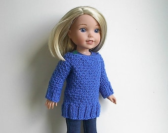 """14.5"""" Doll Clothes Knit Dress Tunic Long Sweater Handmade to fit Wellie Wishers dolls - Royal Blue Dress Tunic or Long Sweater w/5 buttons"""