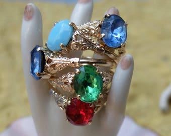 Vintage German Rings 5 Pieces Size 9