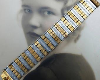 Vintage Bracelet Articulated Metal Mixed Metals