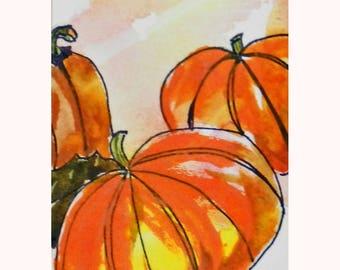 Pumpkin Harvest ACEO Original Watercolor Painting Orange Autumn Harvest Pumpkins Punkins Halloween, Back to School Art Gift Fall Birthday