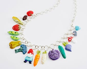 Lord of a Patch flamework necklace vdgetable harvest, gnome, pea in a pod, corn, strawberry, mushroom
