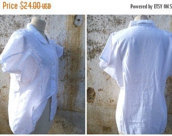 ON SALE Vintage 1980/80s white cotton embroidered eyelet  blouse size L