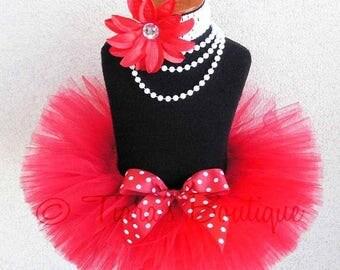 SUMMER SALE 20% OFF Red Tutu - Valentine's Day Tutu - Polka Dot Valentine - Custom Sewn Red Tutu - Up to 8'' Length - sizes Newborn to 5T
