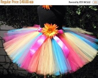 "SUMMER SALE 20% OFF Girls Birthday Tutu - Tropical Splash - Fuchsia Pink Turquoise Blue Yellow Orange - Custom Sewn 12"" Tutu - sizes newborn"