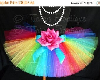 SUMMER SALE 20% OFF Rainbow Tutu, Birthday Tutu, Tulle Skirt for Girls, Babies, Toddlers, Tweens, Economy Tutu, Imagine, Custom Sewn Tutu, N
