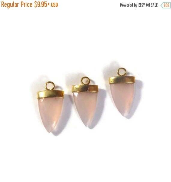 Summer SALEabration - Rose Quartz Charm, Pink Faceted Gemstone Charm, Gemstone Point, Gold Plated Bezel, 24mm x 13mm (C-Rq2c)