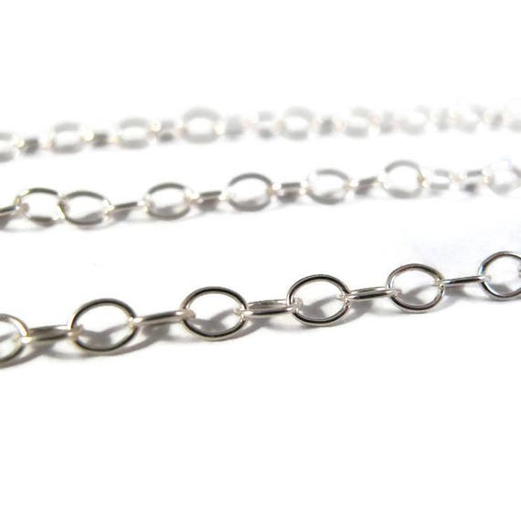 Sterling Silver Chain, Smooth Cable Chain, 5mm x 4mm, Charm Bracelet, Necklace Chain, By The Foot (57as)
