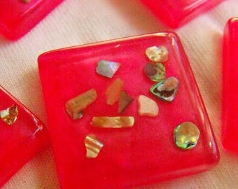 SALE 30% Off Abalone Resin 25mm Square Cabs Hot Pearly Pink Paua Abalone Sprinkles 6 Pcs