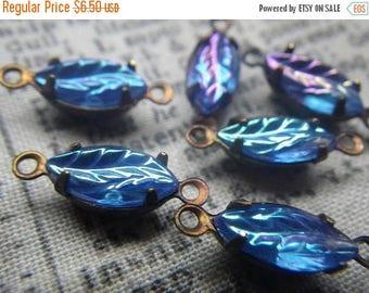 SALE 30% Off Fabulous Vintage Sapphire Blue Aurora Borealis Leaves 10x5mm Vintage Fancy Glass Connectors 6 Pcs