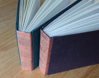Long Stitch Photo Album or Mixed Media Journal with Distressed Copper Spine and Linen Covers