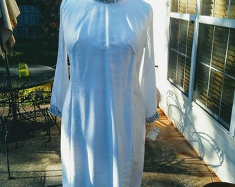 Lane Bryant Vintage Plus Size White Embellished Cocktail Dress