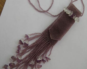 Necklace, Hand beaded Amulet Necklace in Purple, Flashdrive holder