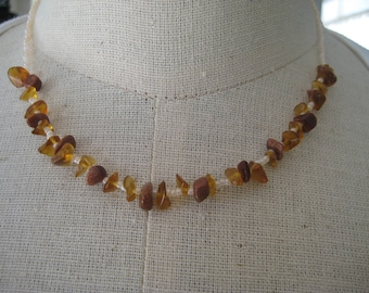 Choker Necklace in Brown and Peach