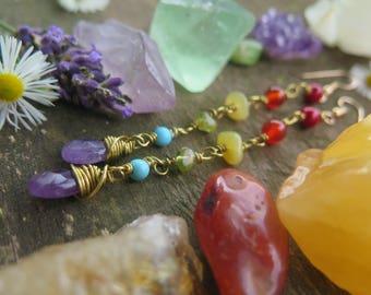 Long Rainbow Stone Earrings - Gold Filled Hooks Dangly - Crystal Gemstone Teardrop - Beaded Colorful Womens Bohemian Jewelry Chakra