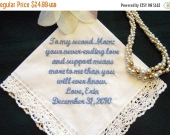ON SALE Stepmother or Other Special Someone with Free Gift Box 114S  Free shipping in Us Personalized Wedding Handkerchief