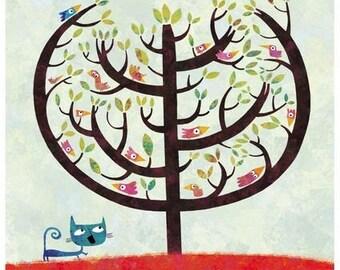 A031 birds tree poster