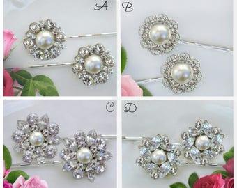 Crystal Pearl, Wedding Hair pins, Bridesmaid Hair Clip, Bridesmaids Hair Pins, Bridesmaids Gift, Bobby Pins,Bridesmaids Hair Accessories