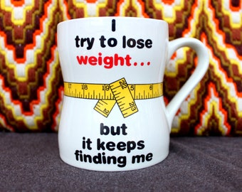 Quirky 80's Weight Loss Coffee Mug with Measuring Tape . Gag Fun Gift . Gal Pal Galentines Gift . bff present fun