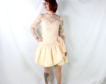 1980's Risky Lace Prom Dress in Peach Sparkles . Sweetheart Bodice . Madonna Would Wear This . Bubble Dress in Medium or Small . Glitter