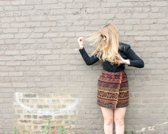 1980's Bohemian Fringe Tapestry Mini Dress with Black Ribbed Long Sleeve Bodice in XS Small Rustic Autumn Festive Holiday Wear