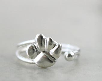 Paw Print ring, Sterling Silver, adjustable, Animal jewelry