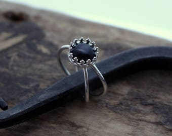 Golden Sheen Obsidian Sterling Silver Double Ring Band