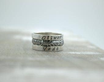 Sterling Silver Personalized Stackable Rings - Silver ring set