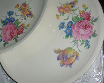 Rose and Tulip - Paden Pottery Dinnerware - 40 pieces - Vintage - Gold Trim