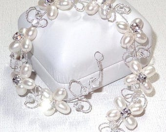 20% OFF Bridal Hair Vine Freshwater Pearls Floral Design Rhinestones Swarovski Crystals Wedding Hairvine Convertible