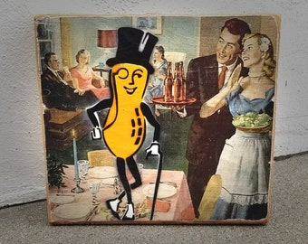 Mr Peanut Mixed Media Graffiti Art Painting on Photo Transfer Original Art on Handmade Canvas Home Decor Pop Art Gallery Life of the Party