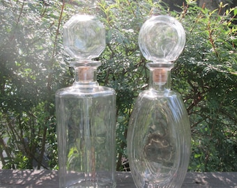 Large Vintage Clear Glass Wine/ Liquor Decanter - Choice