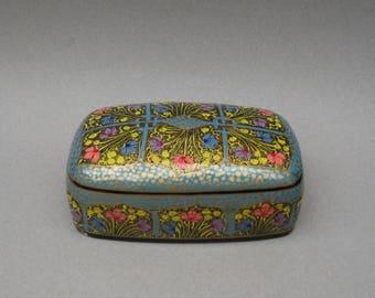 Kashmir India Paper Mache Box Hand Painted Jewelry Box Vintage Trinket Box