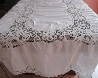 Oval Battenburg Embroidery Flowers Cotton Tablecloth Charming Vintage Shabby White 89x57