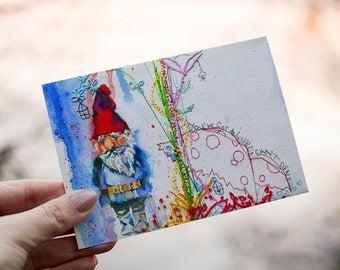 Garden Gnome Print. Garden Gnome Art. Toadstools. Garden Gnome Wall Art. Gardener Gift.
