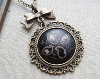 Shabby Chic Necklace, Antique Button with Enamel, Black with Paisley Design