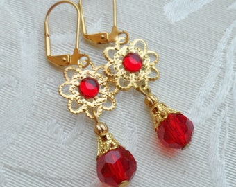 75% Off Price Sale, Ruby Red, Gold Tone Filigree, Czech Glass Beads