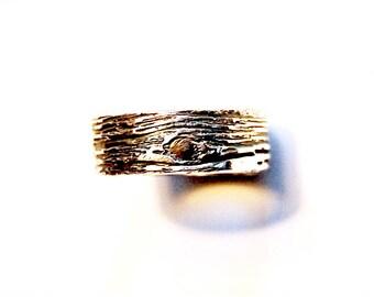 Woodgrain WEDDING RING Simple tree bark band Artisan Ecofriendly Fine Silver Unisex rustic primitive unique bridal jewlery twig ring