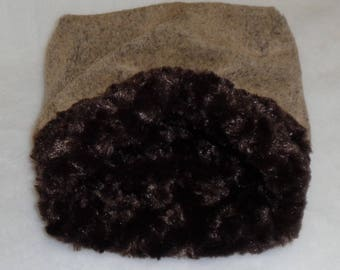 """Snuggle Sack- Pouch for Hedgehog - Frosted Seal Mocha Minky Fur - 9""""x9"""""""