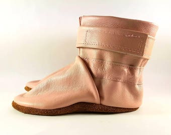 6 to 12 Month Soft Sole Pink Leather Baby Boots