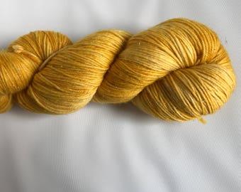 Hand-dyed yarn, Indie dyed yarn, hand dyed yarn GOLD BRACELETS BRIGHT-- dyed to order -- Times Square sock merino/ nylon yarn