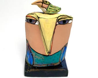"Owl art, handmade one of a kind ceramic owl art,""Owl Person and the resting Beauty Bird. Love is All, 5"" tall"