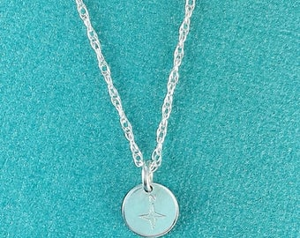 SUMMER SALE Compass Rose Round Tag Charm in Sterling Silver