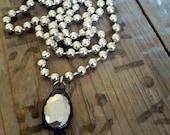 Silver Bead Pendant Necklace, Mercury Glass Pendant, Silver Pendant Necklace, Silver Bead Ball Chain Necklace, Unique Handmade Jewelry