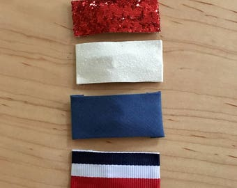 Red white and blue Snap Hair Clips // Fourth of July Snap Clip // Glitter Hair Clips // Barrette