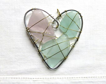 Pale Lavender Purple and Aqua Blue Seaglass Heart Suncatcher